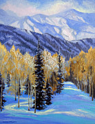 Snow-covered Landscape Originals - Snowy Trail by Nancy Paris Pruden