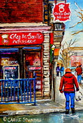Montreal Restaurants Paintings - Snowy Walk By The Tea Room And Pastry Shop Winter Street Montreal Art Carole Spandau  by Carole Spandau