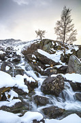 Cwm Idwal Posters - Snowy Waterfall Poster by Christine Smart