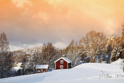 Snow Scape Posters - Snowy Winter Landscape At Sunset Poster by Christian Lagereek