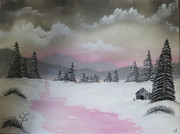 Landscape With Mountains Originals - Snowy Winter by Razin Arts