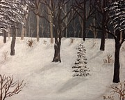 Snow Scene Painting Originals - Snowy woods by Donna Perkins