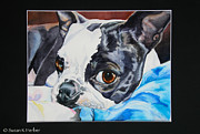 Black Eye Susan Paintings - Snuggle Bum Framed by Susan Herber