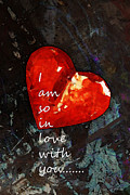 Engagement Prints - So In Love With You - Romantic Red Heart Painting Print by Sharon Cummings