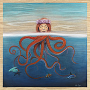 Tentacles Paintings - So Many Fish in the Sea by Kelly Meagher