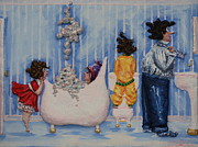 Bubbles Reliefs Prints - So Much for Mummys Quiet Time Print by Alison  Galvan