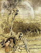 Deceit Painting Prints - So Nobody Can Quite Explain Exactly Where the Rainbows End Print by Arthur Rackham