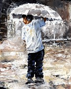 Little Boy Metal Prints - Soaked Metal Print by Emerico Imre Toth
