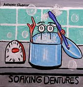 Offices Framed Prints - Soaking Dentures Framed Print by Anthony Falbo
