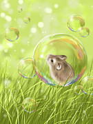 Mice Digital Art Prints - Soap bubble Print by Veronica Minozzi