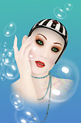 Caricature Mixed Media - Soap Bubble woman  by Mark Ashkenazi