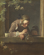 Blowing Paintings - Soap Bubbles by Jean Baptiste Simeon Chardin