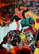 Spiderman Paintings - Soap Opera by Nekoda  Singer