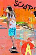Spray Paint Mixed Media Posters - Soar skateboarding collage Poster by Adspice Studios