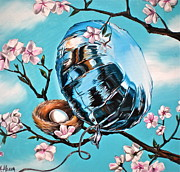Cherry Blossom Painting Prints - Soaring Print by Anthony Mezza
