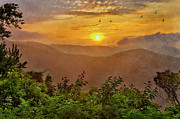 Home Decor Mixed Media - Soaring at Sunrise - Blue Ridge Parkway II by Dan Carmichael