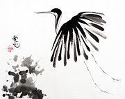 Sumie Framed Prints - Soaring High Framed Print by Oiyee  At Oystudio