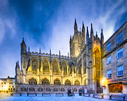 Bath Digital Art Posters - Soaring Perpendicular Gothic Architecture of Bath Abbey Poster by Mark E Tisdale