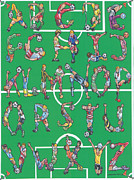 Soccer Drawings Originals - Soccer Alphabet by Eric Fronapfel