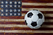 Stitching Prints - Soccer ball and stars and stripes Print by Garry Gay