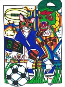 Soccer Drawings Prints - Soccer Cat Print by Shelby McSweeney