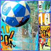 World Cup Mixed Media Framed Prints - Soccer Collage Framed Print by Adspice Studios