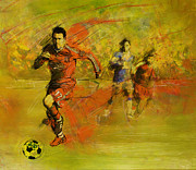 Winter Prints Painting Framed Prints - Soccer  Framed Print by Corporate Art Task Force