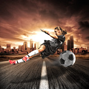 Kicking Posters - Soccer Girl Poster by Erik Brede