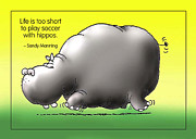 Facetious Metal Prints - Soccer with Hippos Metal Print by Mike Flynn
