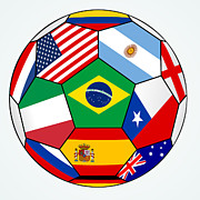 Brasil Digital Art - soccer with various flags - Brazil 2014 by Michal Boubin