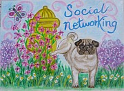Doggies Paintings - Social Networking Pug by Diane Pape