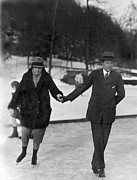 Old Skates Prints - Society Ice Skating In Tuxedo, NY Print by Underwood Archives