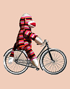 Orange Greeting Cards Posters - Sock Monkey and Bicycle Poster by Kelly McLaughlan