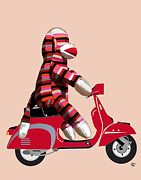 Orange Framed Prints Digital Art Prints - Sock Monkey and Moped Print by Kelly McLaughlan