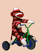 Orange Framed Prints Digital Art Prints - Sock Monkey and Tricycle Print by Kelly McLaughlan