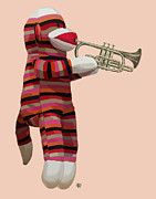 Orange Framed Prints Digital Art Prints - Sock Monkey and Trumpet Print by Kelly McLaughlan