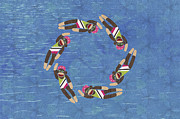 Athletic Digital Art - Sock Monkey Water Ballet Horizontal  by Janet Carlson