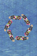Athletic Digital Art - Sock Monkey Water Ballet Vertical  by Janet Carlson