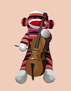 Orange Framed Prints Digital Art Prints - Sock Monkey with Cello Print by Kelly McLaughlan