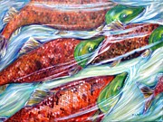 Salmon Paintings - Sockeye Salmon by Jennifer Kwon
