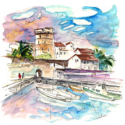 Atlantic Beaches Drawings Posters - Socoa 07 Poster by Miki De Goodaboom