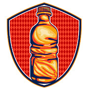Water Bottle Prints - Soda Cola Water Bottle Retro Crest Print by Aloysius Patrimonio
