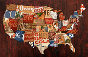 America Map Mixed Media - Soda Pop America by Design Turnpike
