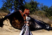Metal Jewelry Metal Prints - Sofia Metal Queen belly dance with 4 yard veil Metal Print by Sofia Gothic Queen of Hell