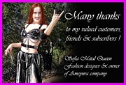 Metal Jewelry Metal Prints - Sofia the Metal Queen. Thank you message to customers Metal Print by Sofia Gothic Queen of Hell