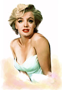 Movie Icon Drawings Posters - Soft Beauty  Marylin Monroe Poster by Iconic Images Art Gallery David Pucciarelli