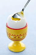 Cracked Posters - Soft boiled egg in cup Poster by Elena Elisseeva