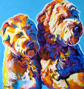 Dawgart Metal Prints - Soft Coated Wheaten Terrier - Max and Maggie Metal Print by Alicia VanNoy Call