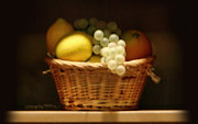 Grapes Art Prints - Soft Fruit Basket Print by Linda Phelps