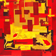 Hot Color Paintings - Soft Geometrics Abstract In Red And Yellow Impression I by Irina Sztukowski